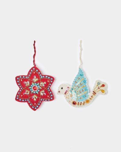 Carolyn Donnelly Eclectic Felt Decoration In Bag - Pack Of 2