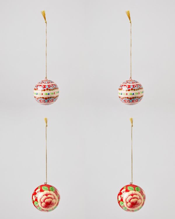 Carolyn Donnelly Eclectic Papier Mache Bauble Set - Pack Of 4