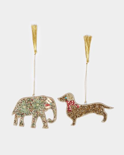 Carolyn Donnelly Eclectic Beaded Animal Decoration - pack of 2