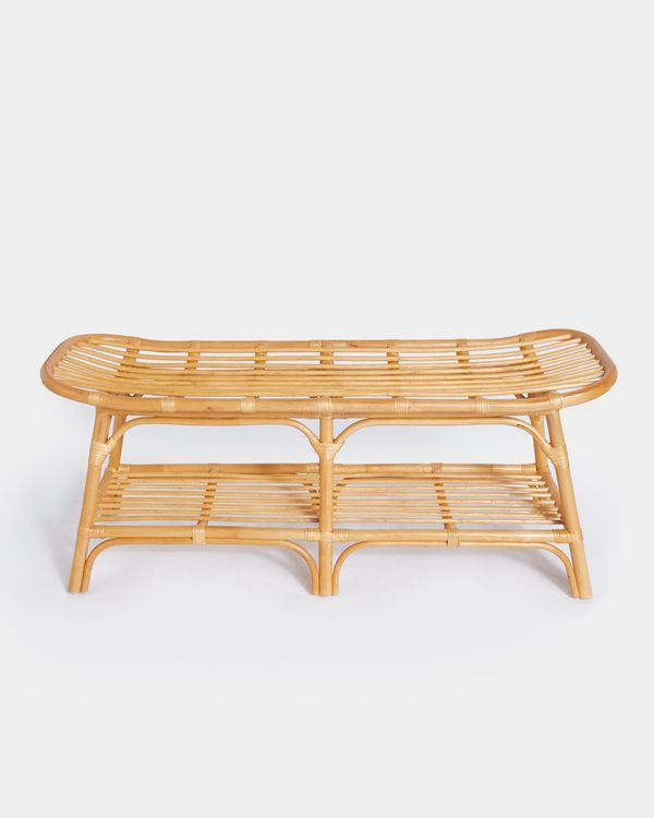 Carolyn Donnelly Eclectic Rattan Bench With Shelves