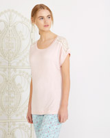 pink Carolyn Donnelly Eclectic Lace Trim T-Shirt