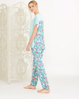 green Carolyn Donnelly Eclectic Cactus Cuff Pants