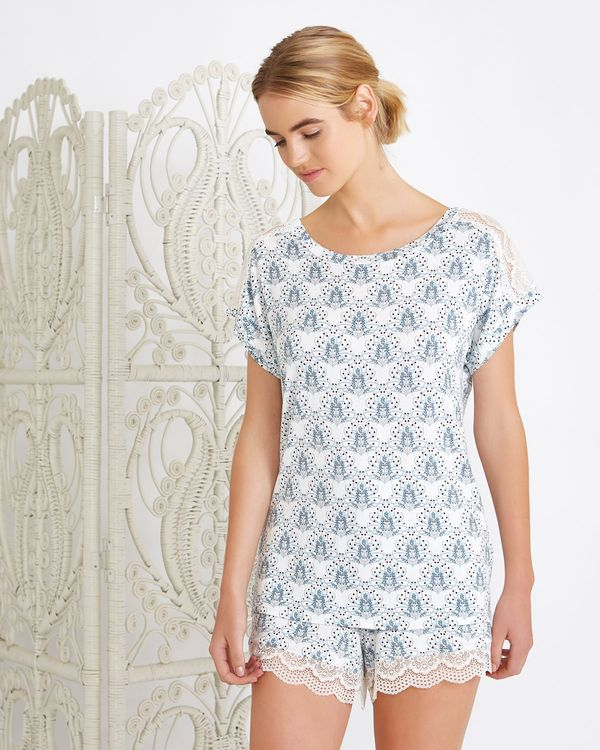 Carolyn Donnelly Eclectic Myra Jesery Lace Panel T-Shirt