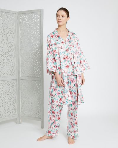 Carolyn Donnelly Eclectic Blossom Hammered Satin Kimono