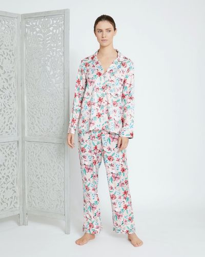 Carolyn Donnelly Eclectic Blossom Hammered Satin Pyjama Set