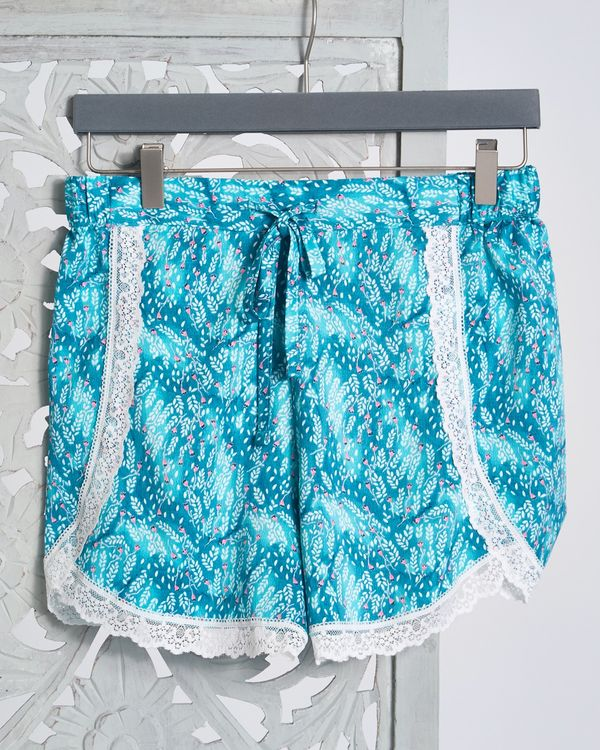 Carolyn Donnelly Eclectic Oasis Crinkled Satin Shorts