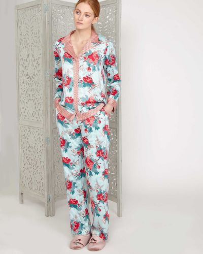 Carolyn Donnelly Eclectic Bloom Crinkled Satin Pyjama Top thumbnail