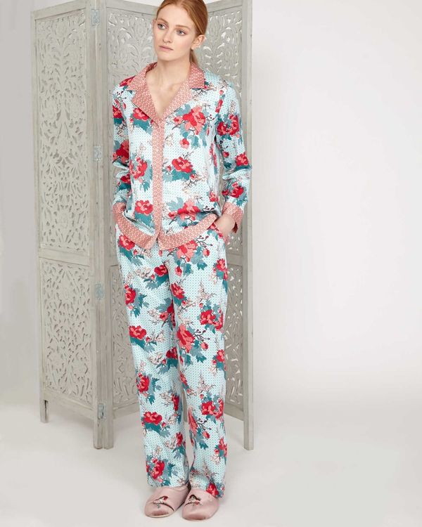 Carolyn Donnelly Eclectic Bloom Crinkled Satin Pyjama Top