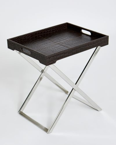 Michael Mortell Leather Serving Tray Table