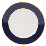 navy Paul Costelloe Living Madison Gold Rim Dinner Plate