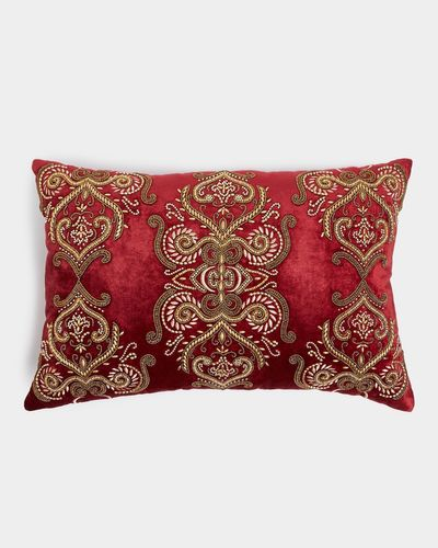 Paul Costelloe Living Belize Red Beaded Cushion