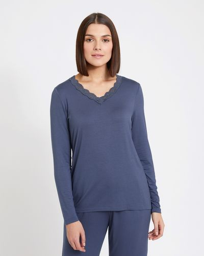 Paul Costelloe Living Studio Long Sleeve Lace Trim Top thumbnail
