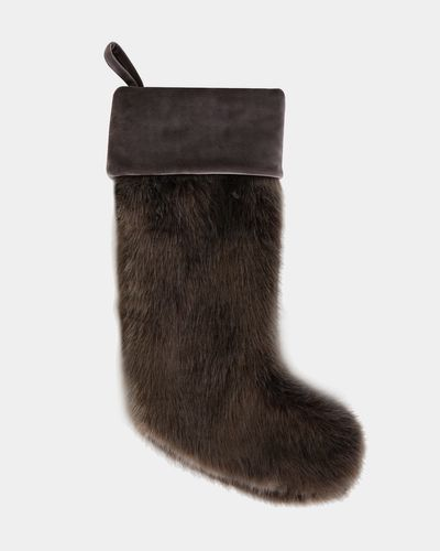Paul Costelloe Living Brown Faux Fur Stocking thumbnail