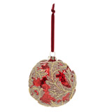 burgundy Paul Costelloe Living Glitter Leaf Bauble