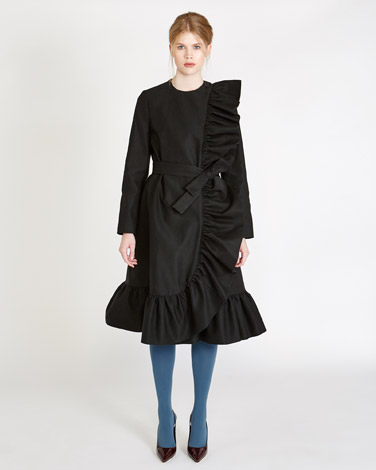 blackPeter O'Brien Belted Coat With Ruffle Trim