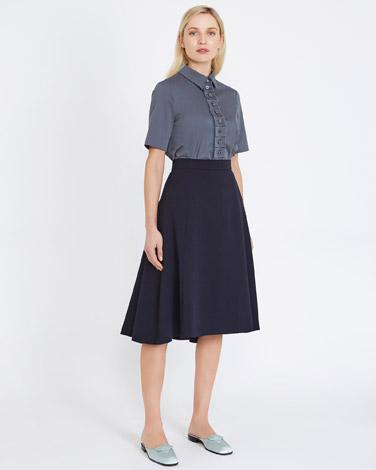 navyPeter O'Brien Pleat Back Skirt