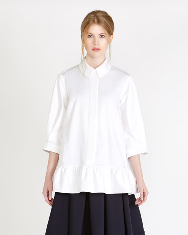 white Peter O'Brien Pleat Sleeve Shirt