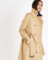 tan Michael Mortell Leather Collar Trench Coat