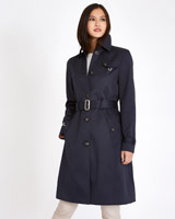 navy Michael Mortell Single Breasted Trench Coat
