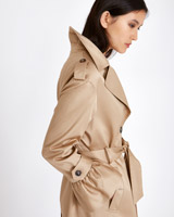 tan Michael Mortell Frill Cuff Trench Coat