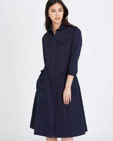 navyMichael Mortell Pocket Shirt Dress