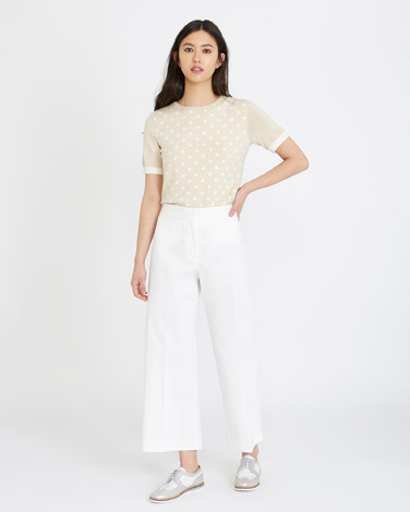 cream Michael Mortell High Waisted Cropped Trousers