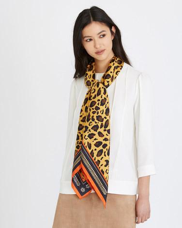 printMichael Mortell Boxed Leopard Print Silk Scarf