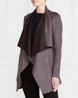 grey Gallery Suedette Waterfall Jacket