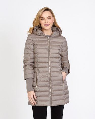 taupe Gallery Zip Hooded Padded Jacket