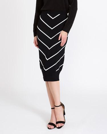 black-whiteGallery Chevron Skirt