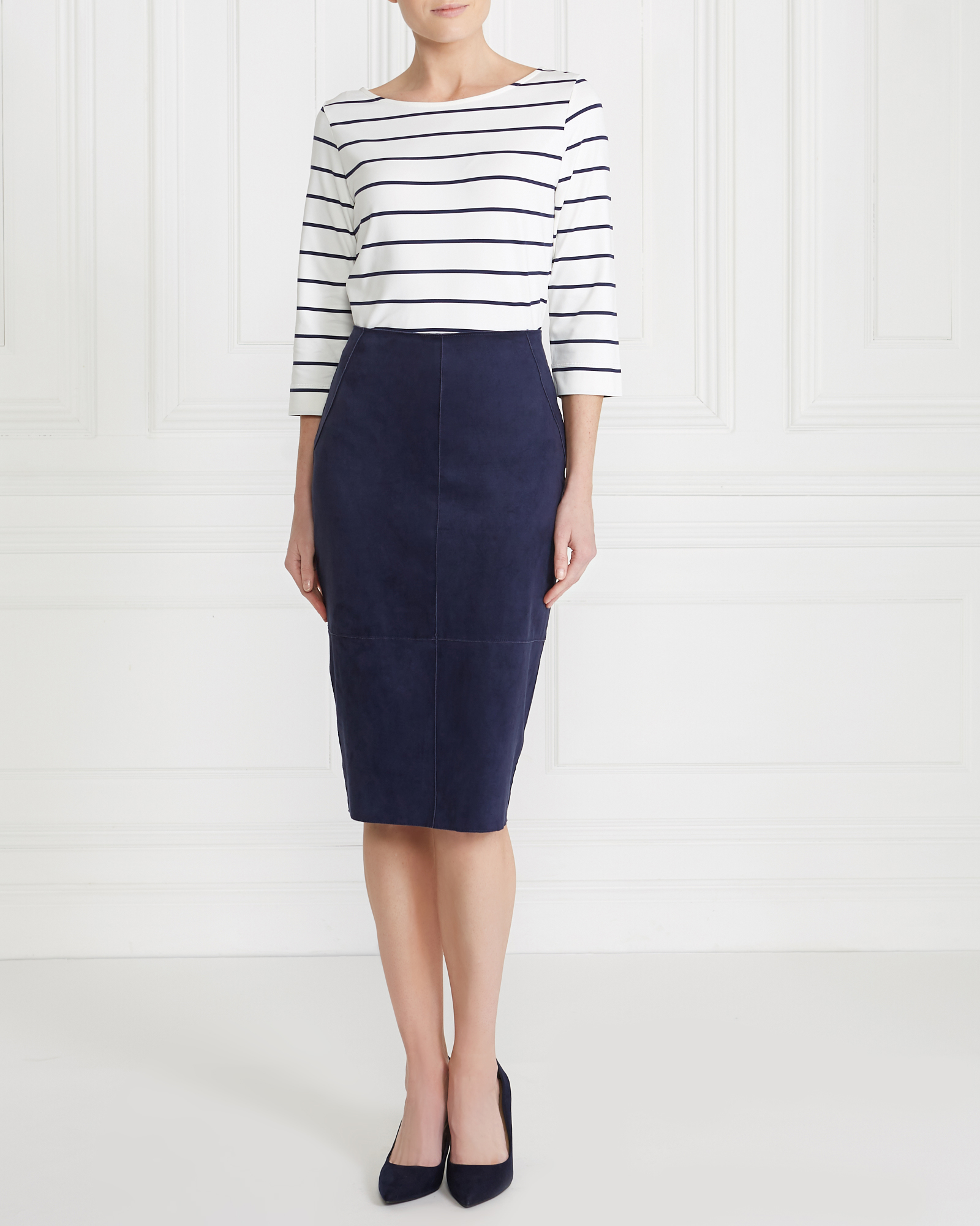navy Gallery Suedette Pencil Skirt