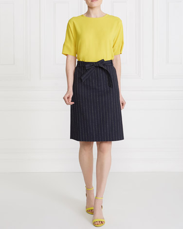 stripe Gallery Linen-Blend Skirt