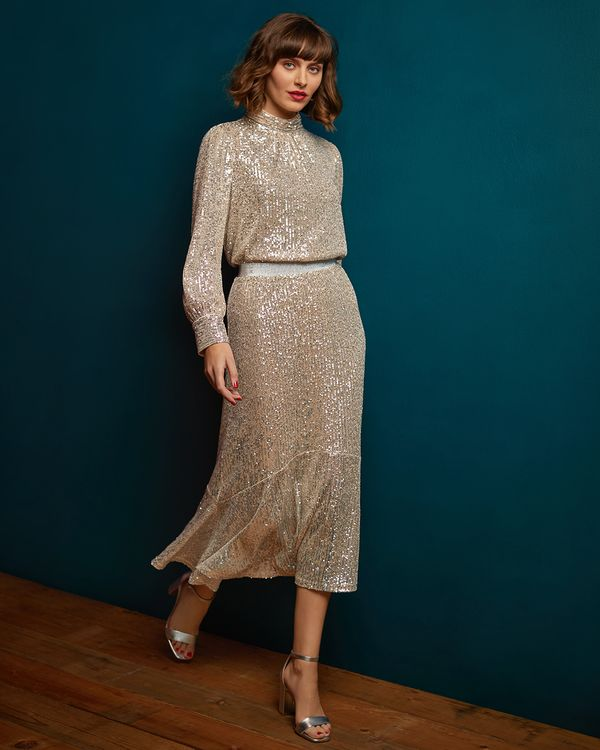 Gallery Mistletoe Sequin Skirt