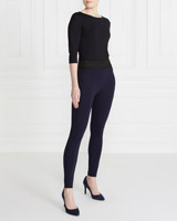 navy Gallery Stretch Waist Ponte Trousers