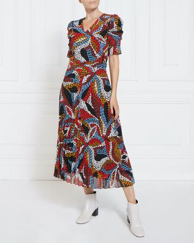 Gallery Print Pleat Dress