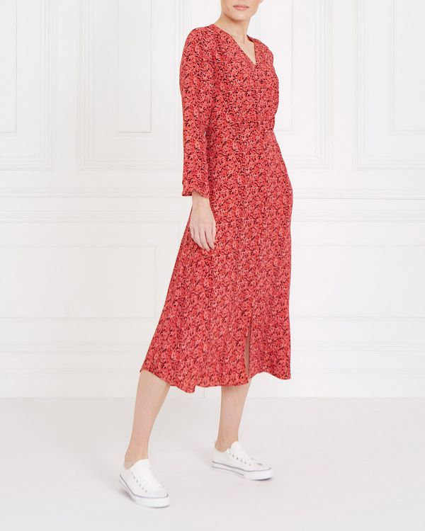 Gallery Printed V Button Dress