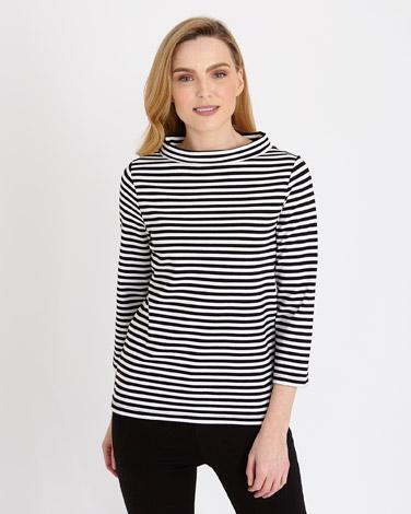 black-whiteGallery Striped Bardot Top