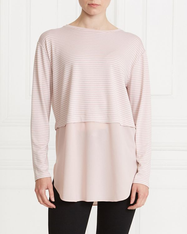 Gallery Stripe Woven Hem Top