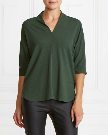 green Gallery Textured V-Neck Top