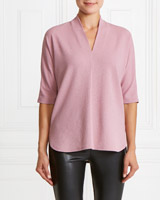 pink Gallery Textured V-Neck Top