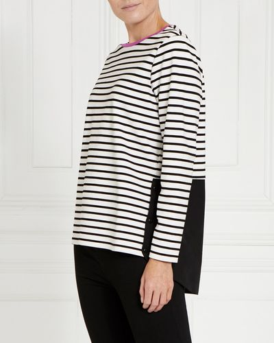 Gallery Button Stripe Hem Top