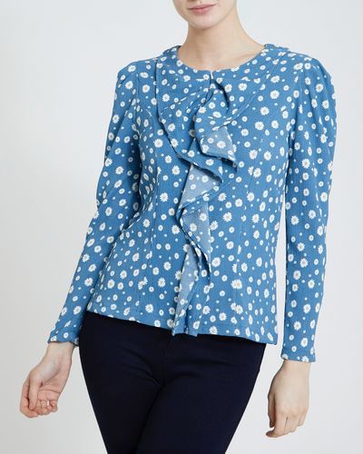 Gallery Ruffle Front Top