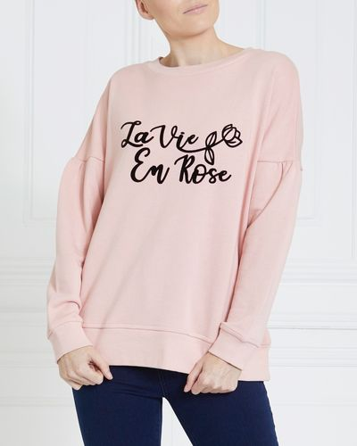 Gallery Flocked Slogan Sweater