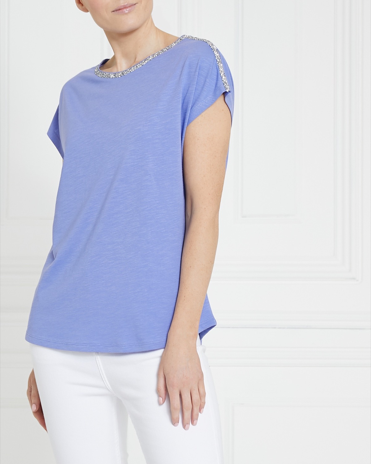 Gallery Embellished Cotton Modal T-Shirt