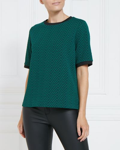 Gallery Luna Short Sleeve Jacquard Top
