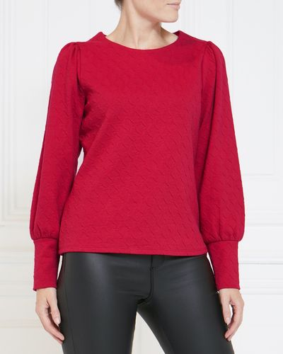 Gallery Jacquard Puff Sleeve Top