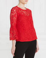 red Gallery Lace Bell Sleeve Top