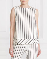 ivory Gallery Stripe Linen Blend Button Back Top