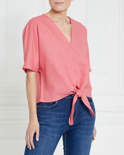 Gallery Linen Blend Tie Front Top