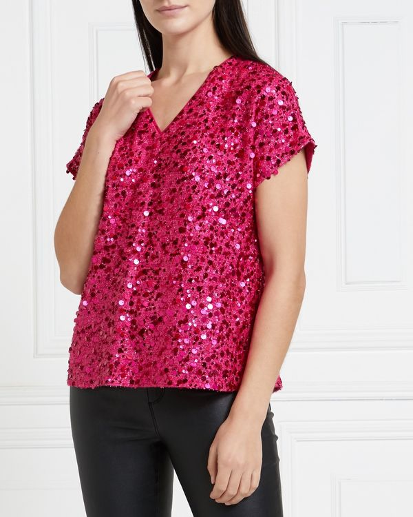 Gallery Mistletoe Short-Sleeved Sequin Top